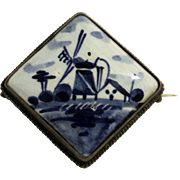 Vintage Delft Dutch Holland Windmill Brooch Pin