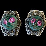 Venetian Glass Roses Earrings