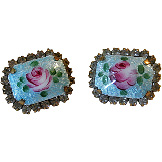 Vintage Guilloche Pair Of Pins Brooches
