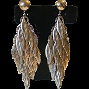 Vintage Metal Feathers Earrings