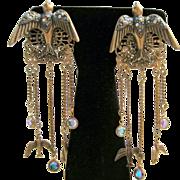 Handmade Flying Rhinestone Birds And Crystal Dangle Earrings