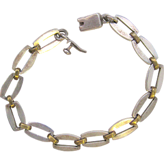Vintage Mexico Sterling Silver And Brass Two Tone Bracelet