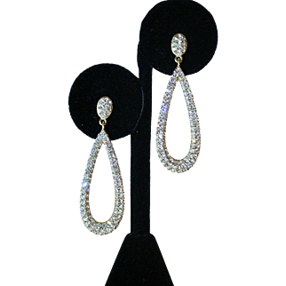 Vintage Pear-Shaped Pave' Rhinestone Earrings