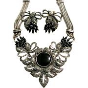 Vintage Sterling Silver, Black Onyx And Marcasite Necklace And Earring Set