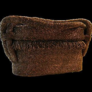 Vintage Art Deco Bronze Beaded Pillbox l940's Handbag