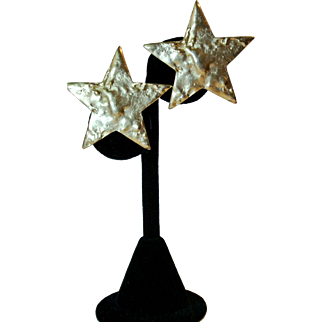 Vintage Erwin Pearl Golden Tone Star Earrings
