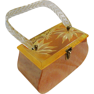 Vintage Lucite Art Deco Presto Lock Co Handbag