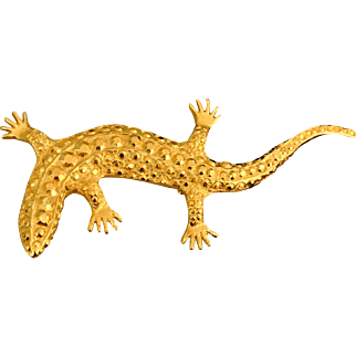 Vintage Golden Tone Lizard Brooch/Pin