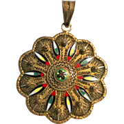 Vintage Enamel Gold-Wash Filigree Pendant