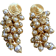 Vintage Caged Faux Pearls Cascade Clip On Earrings