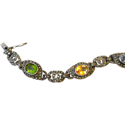 Vintage Semi-Precious Stones Sterling Silver And Marcasites Bracelet