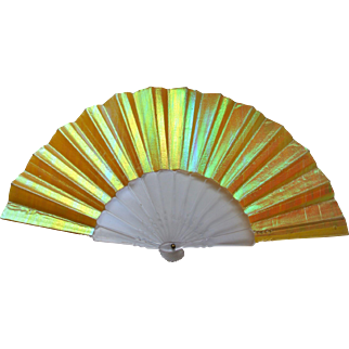 Vintage Iridescent Yellow Clear Plastic Hand Held Fan