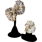 Vintage Rare Sterling Electroformed Flower Set Earrings And Ring