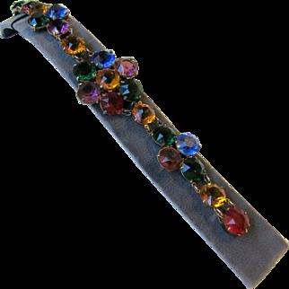 Vintage Czech Open-Back Rhinestones Bracelet
