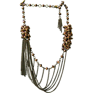 Vintage Iridescent Bronze Beads And Chains Necklace