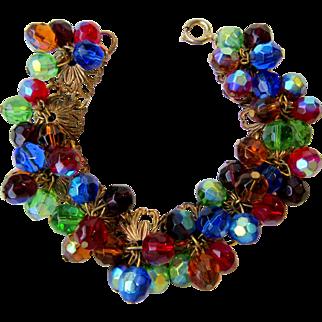 Vintage Iridescent Glass Beads Bracelet