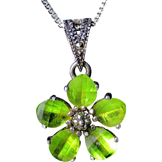 Vintage Peridot, Sterling Silver And Marcasite Necklace