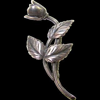 Vintage Denmark SCF Sterling Silver Rose Brooch Pin