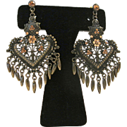 Vintage Fancy Ornate Fringed Rhinestone Pierced Earrings