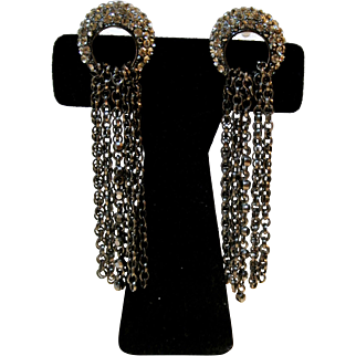 Vintage Silver And Black Rhinestones And Metal Chains Earrings