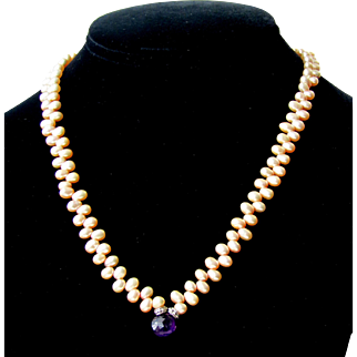 Vintage Freshwater Pearl Sterling Silver And Amethyst Necklace