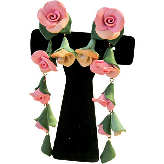 Hand Made One Of A Kind Roses Earrings
