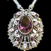 Vintage Czech Enamel Amethyst Glass Necklace