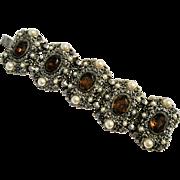 Vintage Massive Topaz Rhinestone And Faux Pearl Bracelet