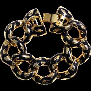 Vintage Blue Enamel And Gold Tone Bracelet