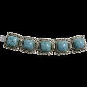 Vintage Bracelet Square Aqua Speckled Black And White