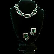 Vintage Kramer Of New York Emerald Green And Clear Rhinestones Set