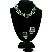 Vintage Kramer Of New York Emerald Green And Clear Rhinestones Set
