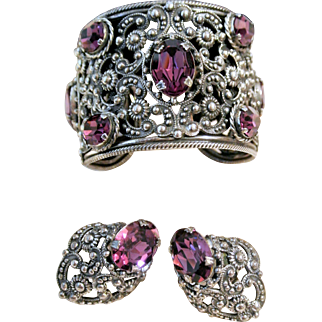 Vintage Napier Amethyst-Colored Foil-Backed Rhinestone Repousse Demi Parure Cuff Bracelet And Matching Earrings