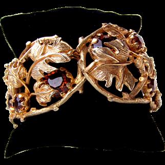"""Vintage """"Patrician"""" Topaz Rhinestone Clamper Bracelet"""