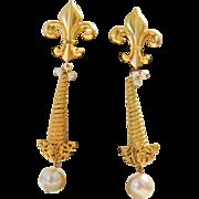 Vintage Extra Long Fleur De Lis And Faux Pearl Earrings