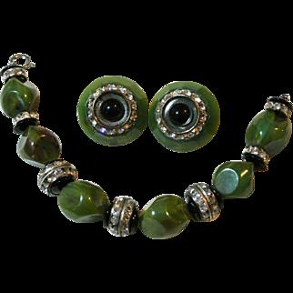 Vintage Bakelite Mottled Green Rhinestones Bracelet And Earring Set