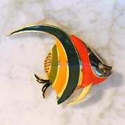 Vintage Enamel Angel Fish Brooch/Pin