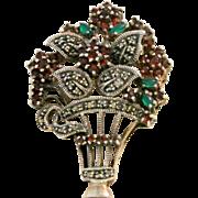 Vintage Sterling Flower Basket Marcasites, Garnets And Green Glass Brooch/Pendant