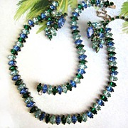 Vintage Full Parure Sapphire and Emerald Colored Rhinestone