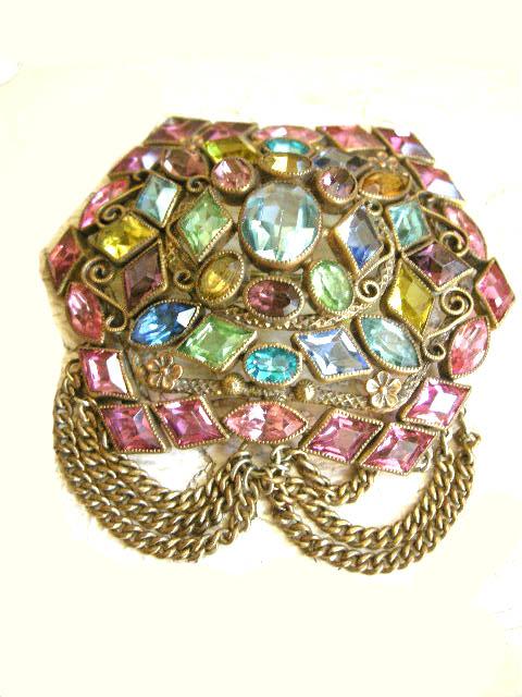 Breathtaking Massive Vintage Brooch Open Back Tons Of Rhinestones