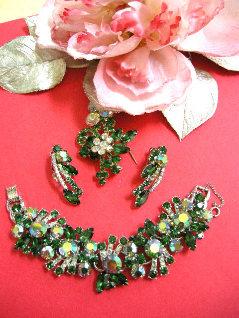 Exquisite Juliana Emerald Green Bracelet and Earring Demi