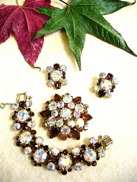 Juliana Head Light Big Big Bracelet Earrings and Brooch Parure