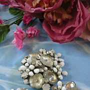 Fabulous Demario Vintage Art Glass Brooch and Earring Demi