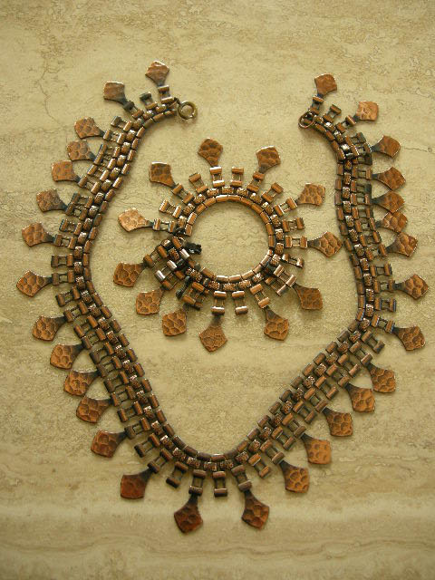 Vintage Egyptian Revival Hammered Copper Massive Bib Necklace and Bracelet