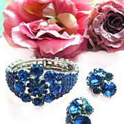 Lady Sings The Blues Huge Vintage Sapphire Rhinestone Bracelet and Earrings