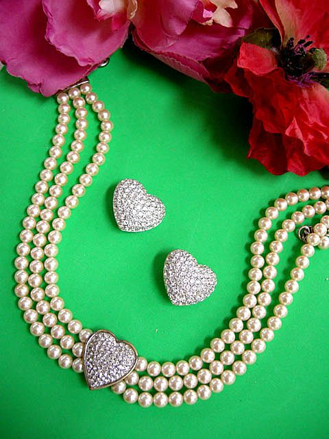 Vintage Simulated Pearl and Pave Puffy Heart Necklace and Earring Demi
