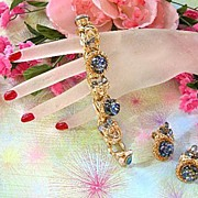 1950's Big Bold Art Glass Cat Eye Sapphire Glass Bracelet and Earrings
