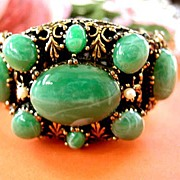 Early 1900's Simulated Jade Cabochon and Amethyst Massive Bracelet