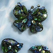 Vintage Tourmaline and Sapphire Color Rhinestone regency Butterfly Demi