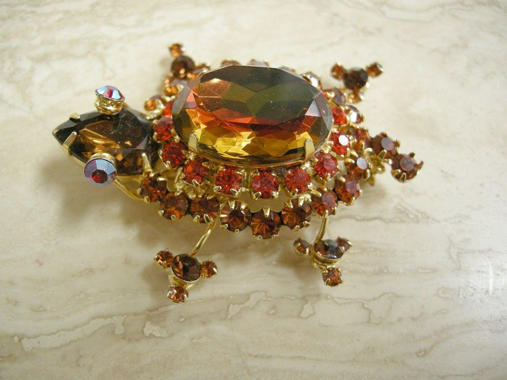 Vintage Juliana Watermelon Autumn Shades Turtle Brooch